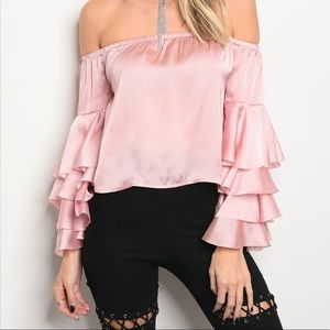 Tops - 5 for $100 Just In! Ruffle Off Shoulder BLUSH TOP